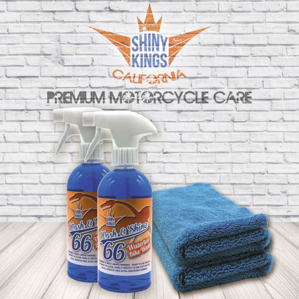 2 x Wash&Shine 66 waterless motorcycle wash, motorcycle cleaner + 2 special Shinykings Cleaning Towels