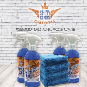 4 x Wash&Shine 66 waterless motorcycle wash, motorcycle cleaner + 4 special Shinykings Cleaning Towels