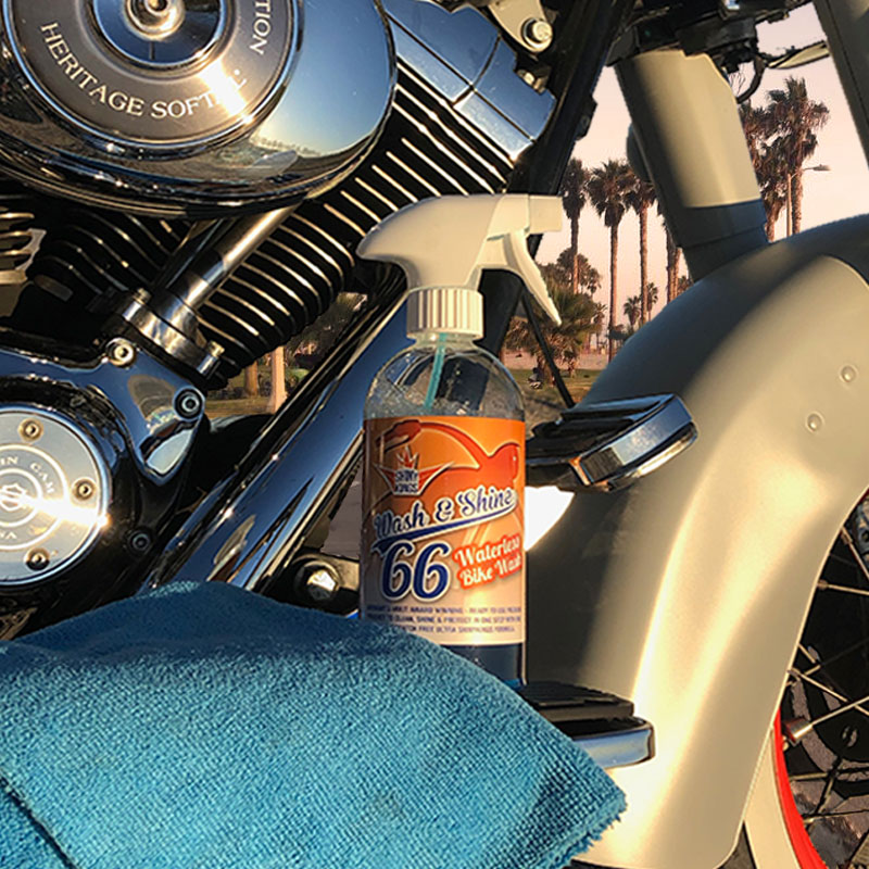 You can apply Wash & Shine 66 to all areas of your own bike, including chrome, glass, wheels, leather, and even painted surfaces to beautify and protect your bike to make it sparkle just like new!